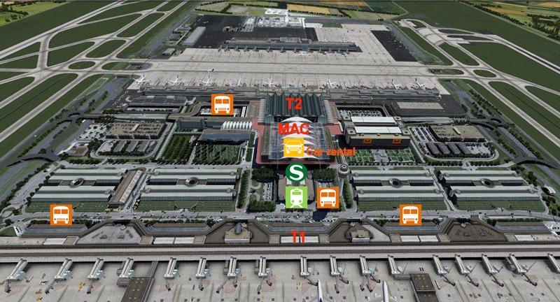 Схема остановок транспорта и офисы проката авто
