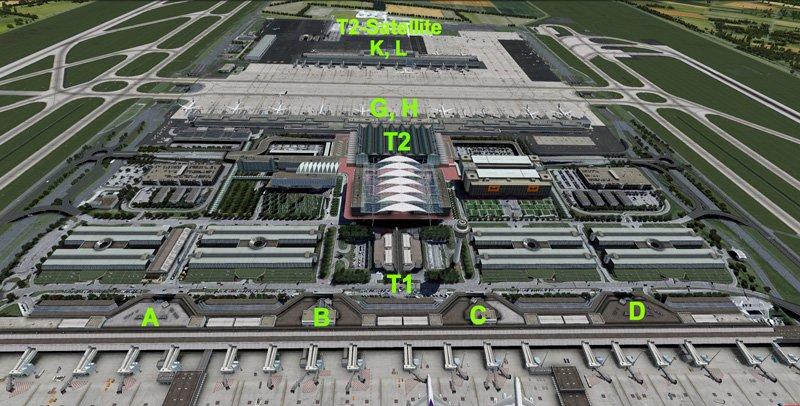 Схема терминалов и выходов на посадку