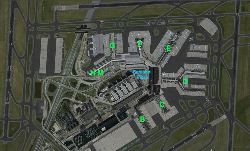 Схема аэропорта Схипхол