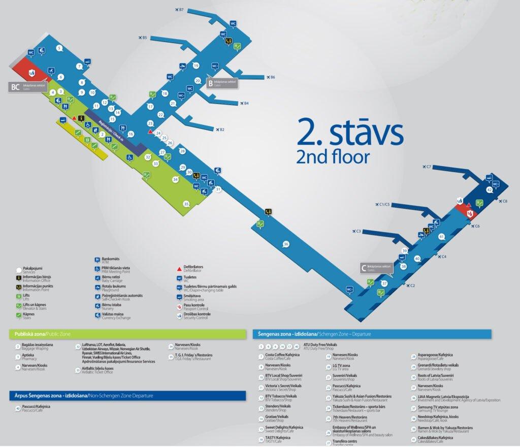 Схема аэропорта Риги. 2 этаж
